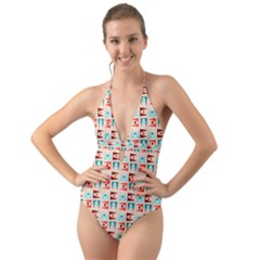 Retro Digital Halter Cut-out One Piece Swimsuit