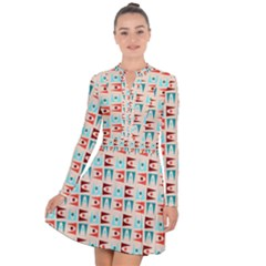 Retro Digital Long Sleeve Panel Dress