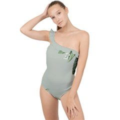 Banana Pattern Plant Frilly One Shoulder Swimsuit