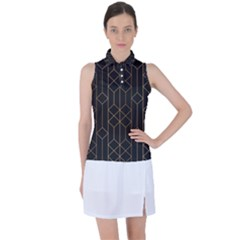 Plaid Black Line Women s Sleeveless Polo Tee by AnjaniArt