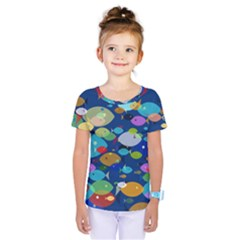 Illustrations Sea Fish Swimming Colors Kids  One Piece Tee