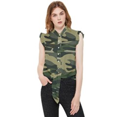 Green Military Camouflage Pattern Frill Detail Shirt