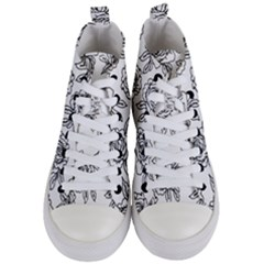 Line Art Black And White Rose Women s Mid-top Canvas Sneakers