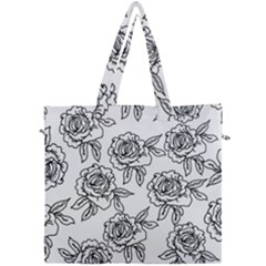 Line Art Black And White Rose Canvas Travel Bag