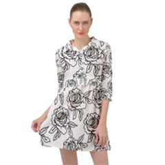 Line Art Black And White Rose Mini Skater Shirt Dress by MintanArt
