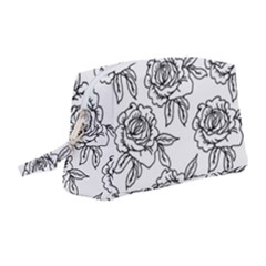 Line Art Black And White Rose Wristlet Pouch Bag (medium)