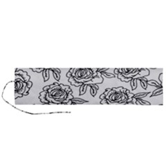 Line Art Black And White Rose Roll Up Canvas Pencil Holder (l)