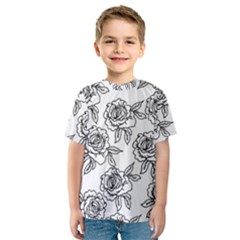 Line Art Black And White Rose Kids  Sport Mesh Tee