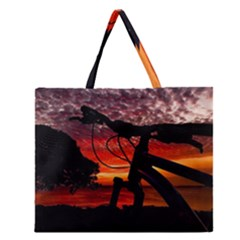 Mountain Bike Parked At Waterfront Park003 Zipper Large Tote Bag