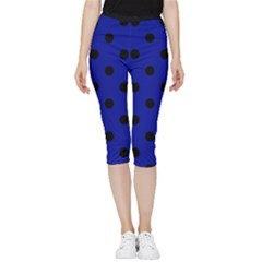 Large Black Polka Dots On Admiral Blue - Inside Out Lightweight Velour Capri Leggings  by FashionLane
