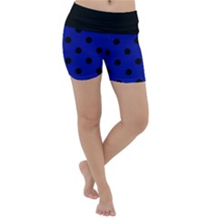 Large Black Polka Dots On Admiral Blue - Lightweight Velour Yoga Shorts