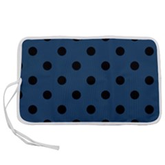 Large Black Polka Dots On Aegean Blue - Pen Storage Case (s)