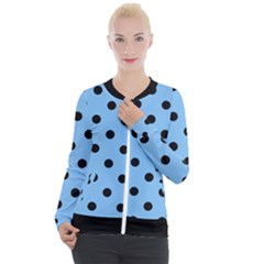 Large Black Polka Dots On Aero Blue - Casual Zip Up Jacket