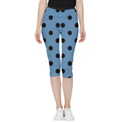 Large Black Polka Dots On Air Force Blue - Inside Out Lightweight Velour Capri Leggings  by FashionLane