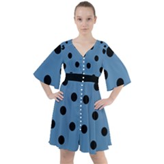 Large Black Polka Dots On Air Force Blue - Boho Button Up Dress