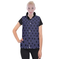 Large Black Polka Dots On Astral Aura - Women s Button Up Vest by FashionLane