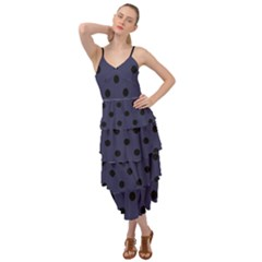 Large Black Polka Dots On Astral Aura - Layered Bottom Dress