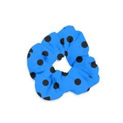 Large Black Polka Dots On Azure Blue - Velvet Scrunchie