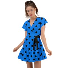 Large Black Polka Dots On Azure Blue - Flutter Sleeve Wrap Dress