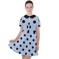 Large Black Polka Dots On Beau Blue - Short Sleeve Shoulder Cut Out Dress  by FashionLane