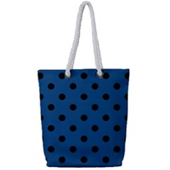 Large Black Polka Dots On Classic Blue - Full Print Rope Handle Tote (small)