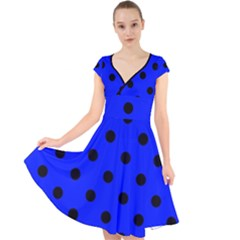 Large Black Polka Dots On Just Blue - Cap Sleeve Front Wrap Midi Dress by FashionLane