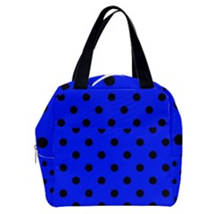 Large Black Polka Dots On Just Blue - Boxy Hand Bag by FashionLane