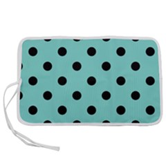 Large Black Polka Dots On Tiffany Blue - Pen Storage Case (s)
