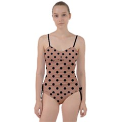 Large Black Polka Dots On Antique Brass Brown - Sweetheart Tankini Set