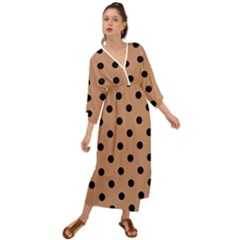 Large Black Polka Dots On Antique Brass Brown - Grecian Style  Maxi Dress