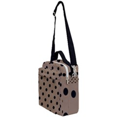 Large Black Polka Dots On Beaver Brown - Crossbody Day Bag