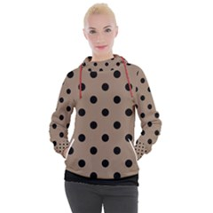 Large Black Polka Dots On Beaver Brown - Women s Hooded Pullover by FashionLane