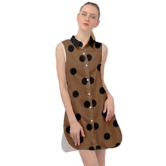 Large Black Polka Dots On Brown Bear - Sleeveless Shirt Dress