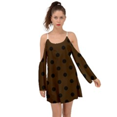 Large Black Polka Dots On Brunette Brown - Kimono Sleeves Boho Dress