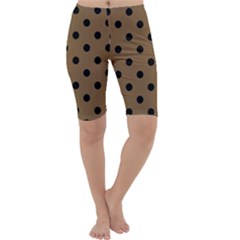 Large Black Polka Dots On Coyote Brown - Cropped Leggings  by FashionLane