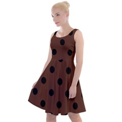 Large Black Polka Dots On Emperador Brown - Knee Length Skater Dress by FashionLane