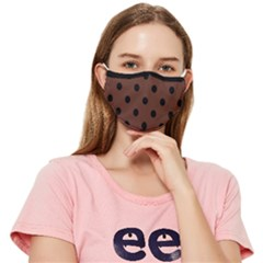 Large Black Polka Dots On Emperador Brown - Fitted Cloth Face Mask (adult) by FashionLane