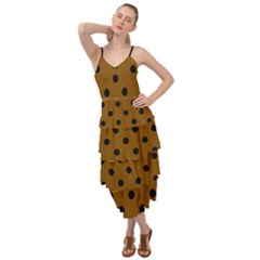 Large Black Polka Dots On Just Brown - Layered Bottom Dress