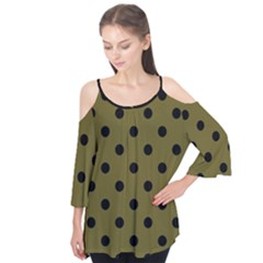 Large Black Polka Dots On Antique Bronze - Flutter Tees