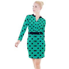 Large Black Polka Dots On Caribbean Green - Button Long Sleeve Dress