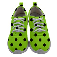Large Black Polka Dots On Chartreuse Green - Athletic Shoes