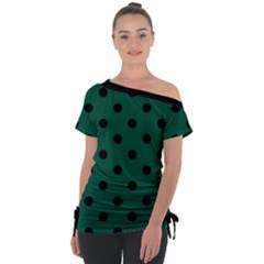 Large Black Polka Dots On Christmas Green - Off Shoulder Tie-up Tee