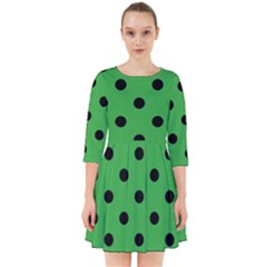Large Black Polka Dots On Just Green - Smock Dress by FashionLane