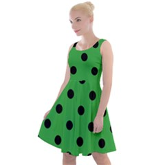 Large Black Polka Dots On Just Green - Knee Length Skater Dress by FashionLane