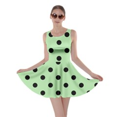 Large Black Polka Dots On Pale Green - Skater Dress