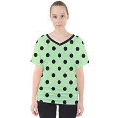 Large Black Polka Dots On Pale Green - V-neck Dolman Drape Top
