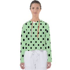 Large Black Polka Dots On Pale Green - Women s Slouchy Sweat