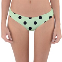 Large Black Polka Dots On Tea Green - Reversible Hipster Bikini Bottoms