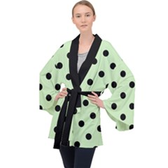 Large Black Polka Dots On Tea Green - Long Sleeve Velvet Kimono