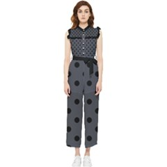 Large Black Polka Dots On Anchor Grey - Women s Frill Top Jumpsuit